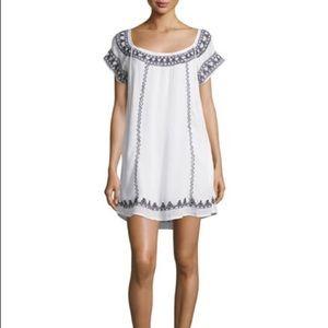 Tularosa Lila Embroidered White/Black Tunic Dress
